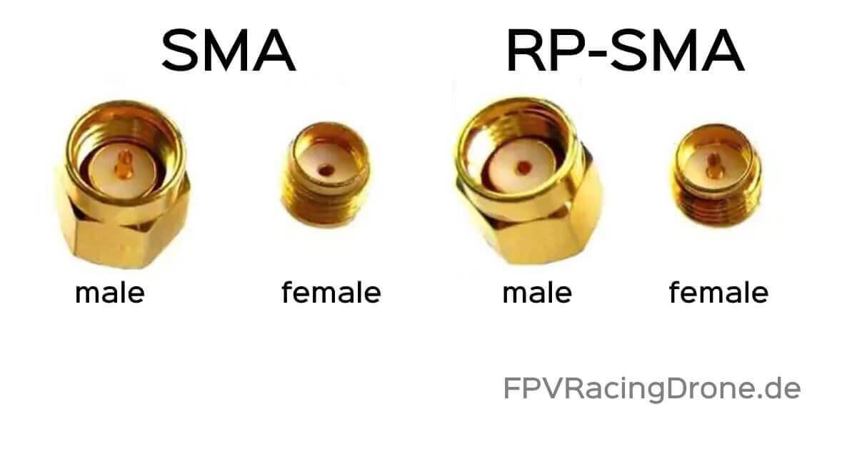SMA Male SMA Female RP SMA Male RP SMA Female Stecker Übersicht FPVRachingdrone